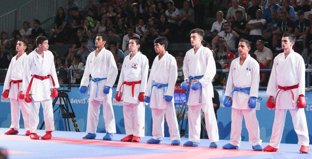Huit athlètes par catégorie, répartis en deux poules de quatre, avant une phase finale réservée aux quatre plus performants, tel est le format olympique adopté pour le karaté. © JOJ Buenos Aires 2018